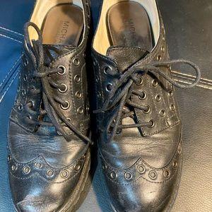 Michael Kors block heel studs black Oxfords shoes